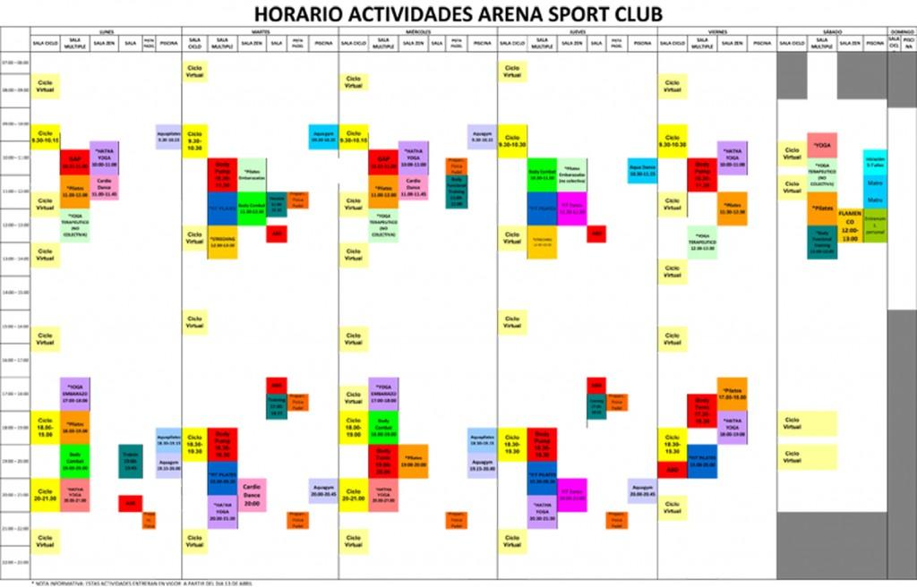 horario actividades fitness colectivas