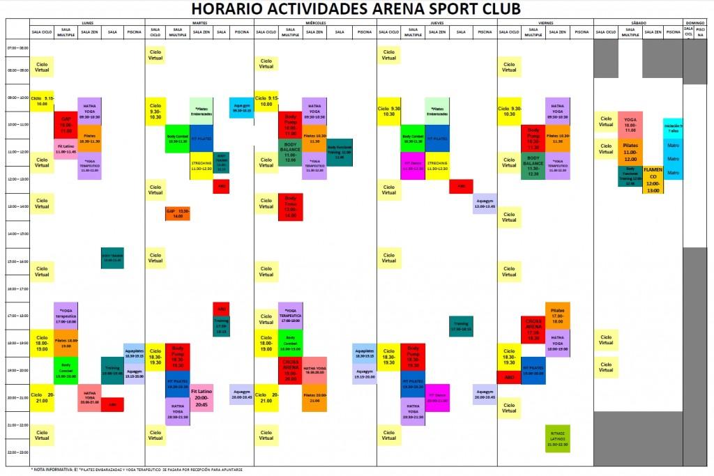 Horario actividades colectivas mayo 2015