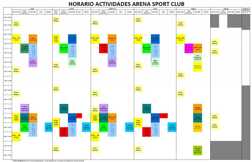 horario actividades colectivas julio 2015