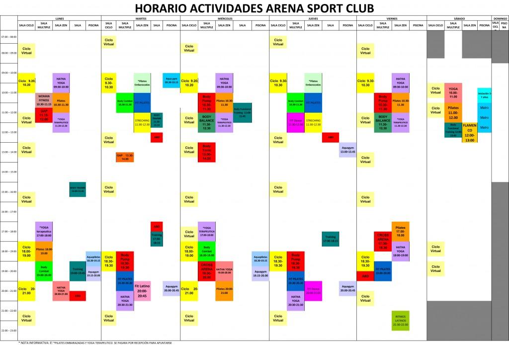 horario actividades deportivas colectivas junio